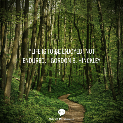 """Life is to be enjoyed, not endured."" Gordon B. Hinckley"