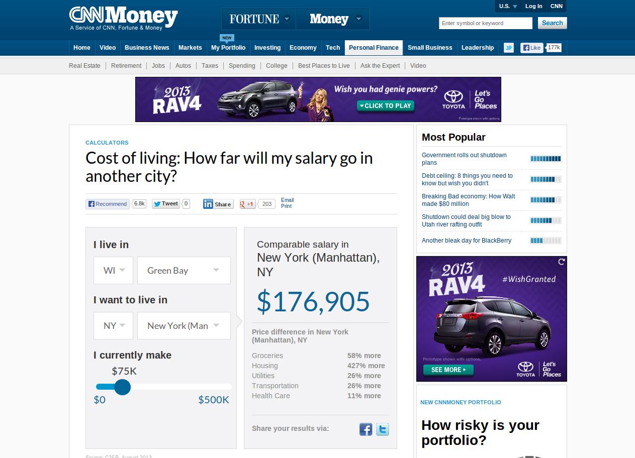 Cost of living relocation assessor free demo | eri economic.