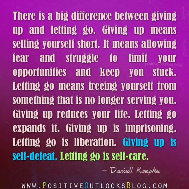 giving up and letting go
